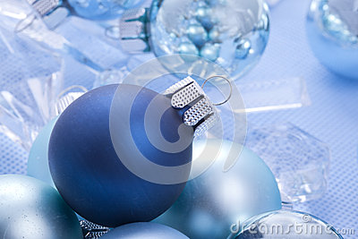 Blue shiny christmas balls