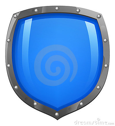 Blue shiny glossy shield