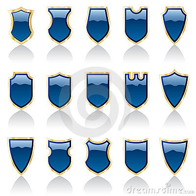 Blue shiny shields