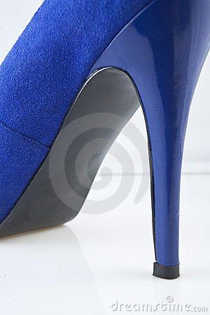 Blue shoe against white background