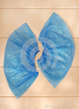 Blue shoe covers.