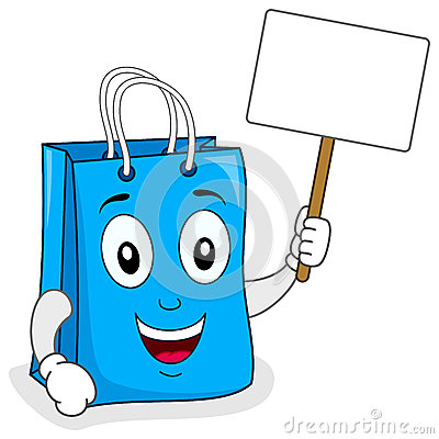 Blue Shopping Bag Holding Blank Sign