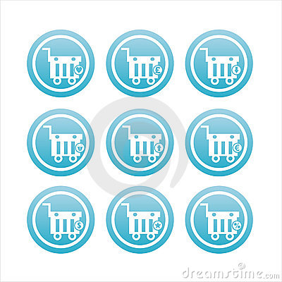 blue shopping baskets signs