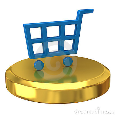 Blue shopping cart on podium