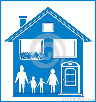 Blue sign with home and family