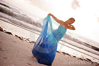 Blue silk dancer