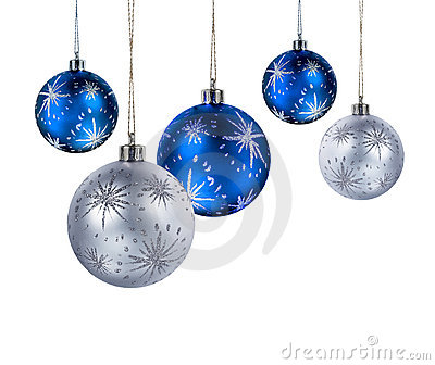 Blue silver christmas balls