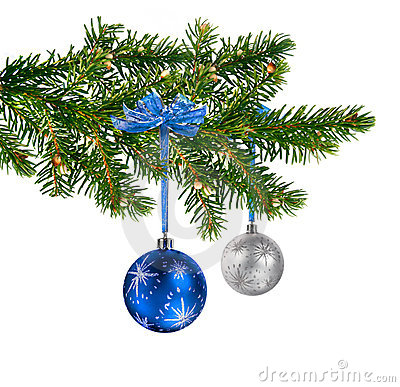 Blue silver glass balls on Christmas tree