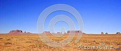 Blue skies over Monument Valley in Utah