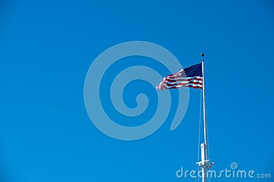 Blue sky and the American Flag