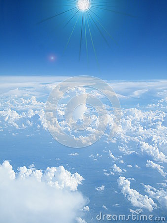 Free Blue Sky And Sun And Clouds Seen From Above Royalty Free Stock Images - 91807389