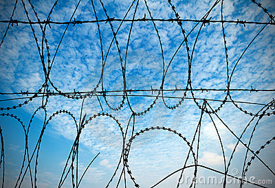 Blue sky and barbed wire