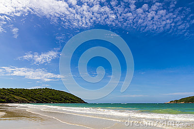 Blue sky with beach sea and mountian
