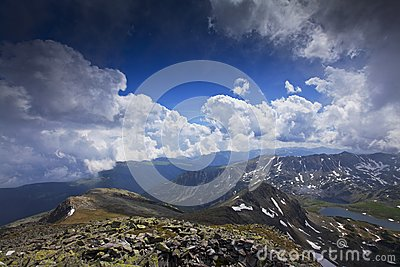 Blue sky and  cloud scenery in high mountains