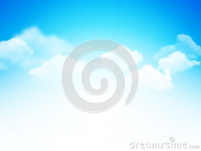 Blue sky with clouds abstract vector background Vector Illustration