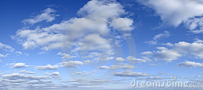 Blue sky with clouds backdrop - early afternoon