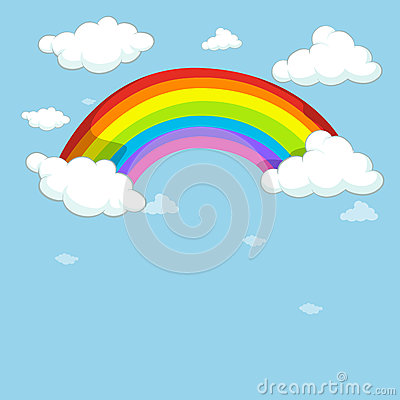 Blue sky with colorful rainbow