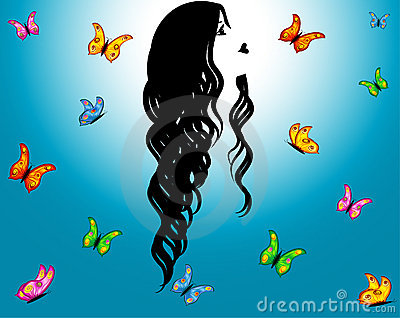 Blue sky, contour girl & butterflies