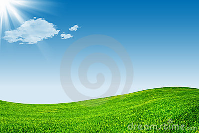 Blue sky and green grassland