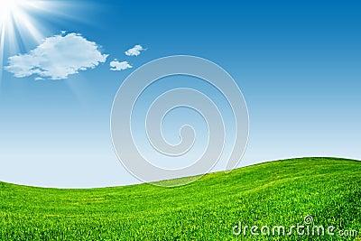 Blue sky and green grassland