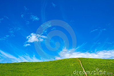 Blue sky and green meadow
