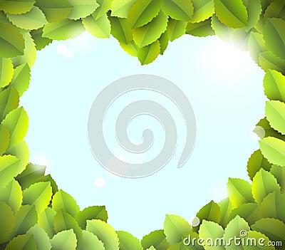 Blue sky in heart frame from green leaves