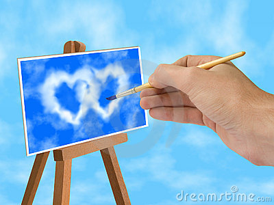 Blue sky and heart-shaped clouds on easel