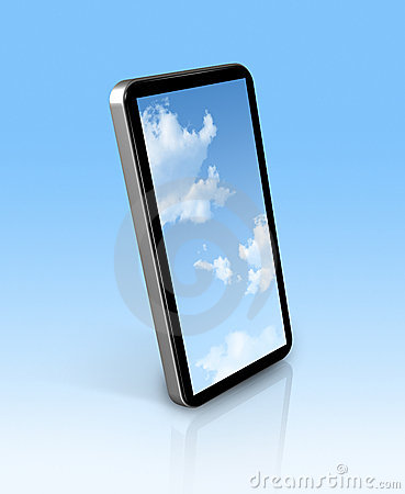 Blue sky in a mobile phone