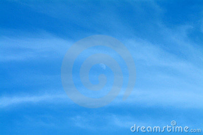 Blue Sky With Moon & Wispy Clouds