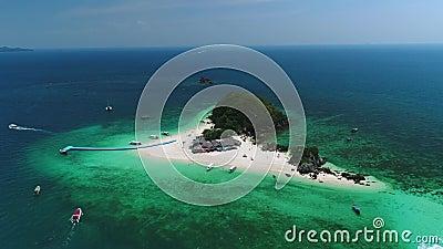 Footage Aerial view Blue sky and blue ocean Khai nok island of Phang Nga Thailand. Blue sky and blue ocean Khai nok island of Phang Nga Thailand stock video