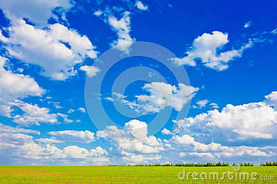 Blue sky over the plain