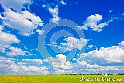 Blue sky over the plain