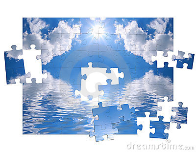 Blue sky and of puzzle