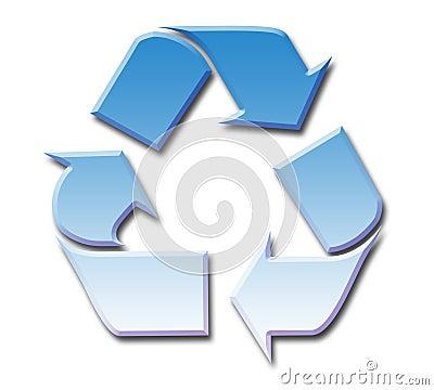 Blue sky recycling symbol