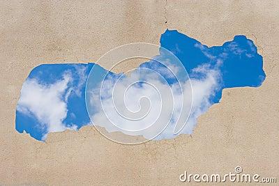 Blue sky seen through the hole