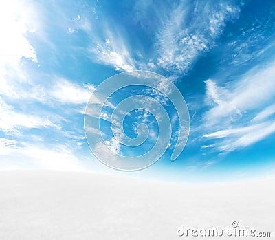 Blue sky snowy hills