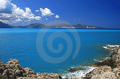 Blue sky turquoise sea