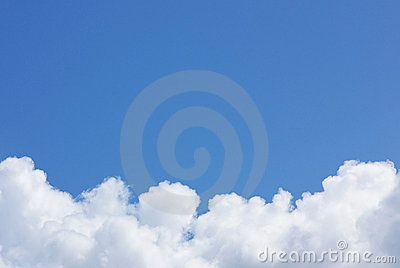 Blue sky with white cloud .