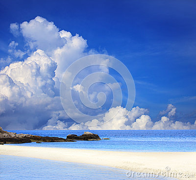 Blue sky white cloud and sand beach