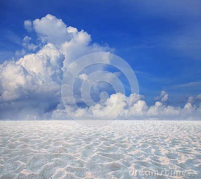 Blue sky white cloud and sand desert