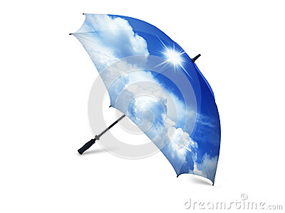 Blue Sky with White Cumulus Cloud on umbrella
