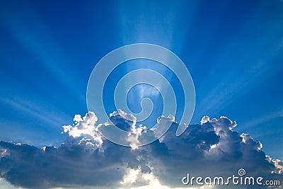 Blue skys clouds sunbeams #4