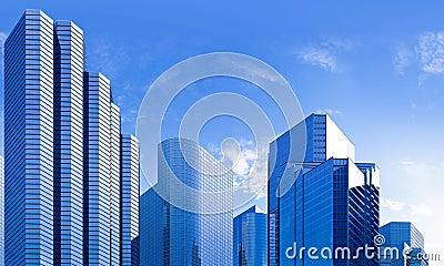 Blue skyscraper skyline