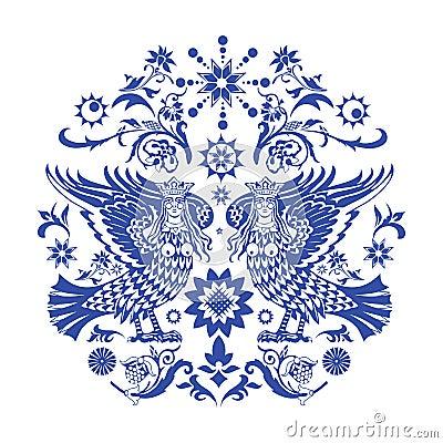 Blue slavic pattern