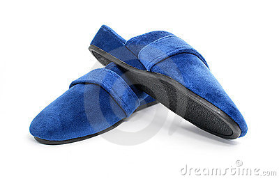 Blue slippers shoes isolated