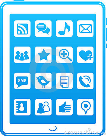 Blue  smart phone social media icons