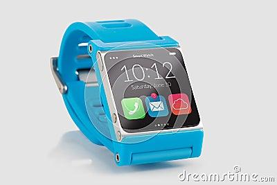 Blue smart watch close up