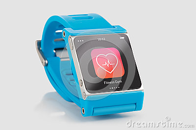 Blue smart watch with fitness app icon on screen