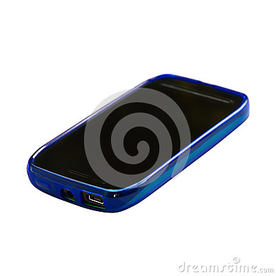 Blue smartphone with sleep mode screen