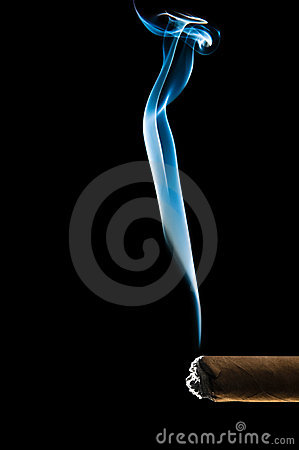 Blue smoke from cigar